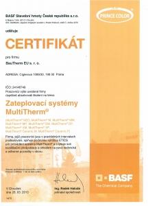 Certifikát BASF ETICS