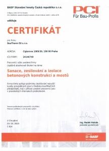 Certifikát BASF Sanace