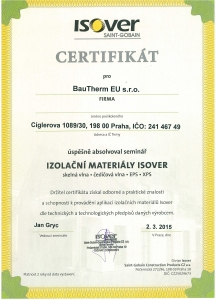 Certifikát Isover